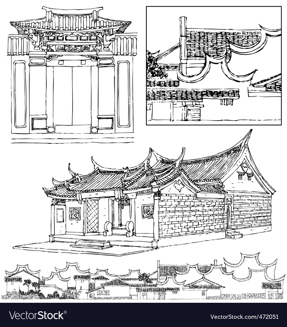Traditional chinese building vector | Price: 1 Credit (USD $1)