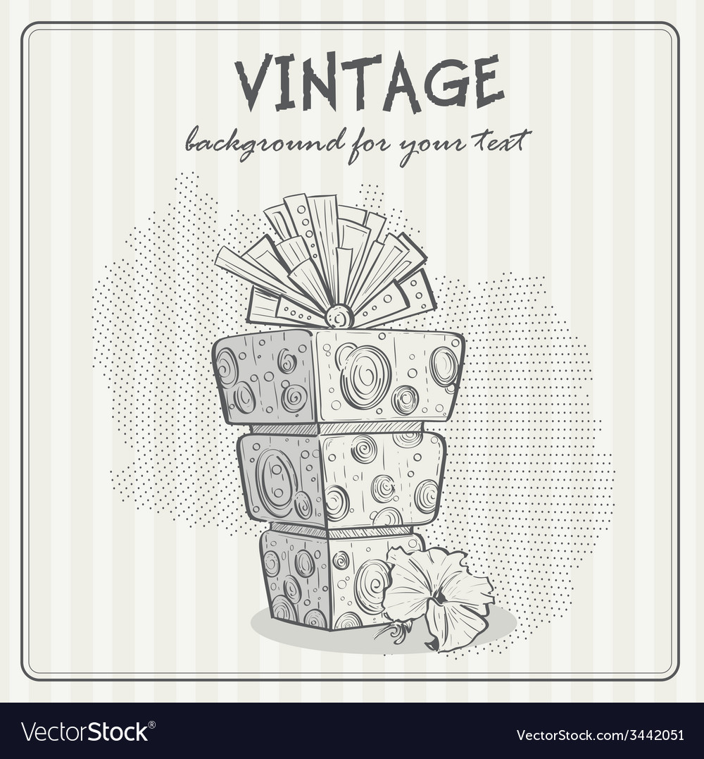Vintage background with a birthday cake vector | Price: 1 Credit (USD $1)