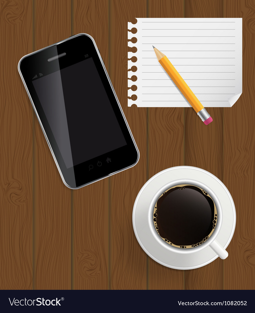 Abstract design phone coffee pencil blank page on vector | Price: 1 Credit (USD $1)