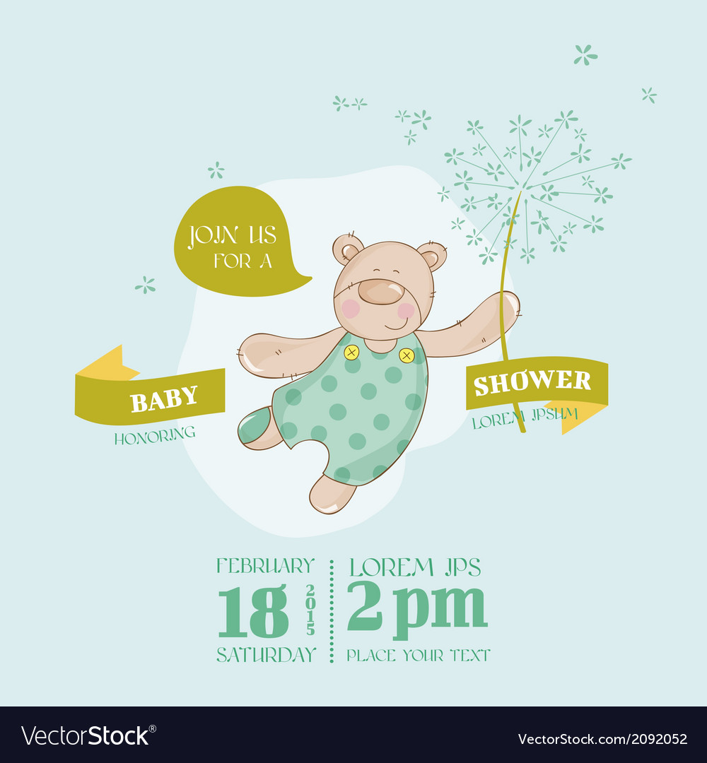 Baby arrival card - baby bear with flower vector | Price: 1 Credit (USD $1)