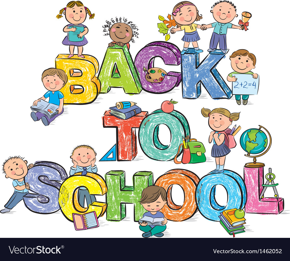 Back to school funny letters and kids vector | Price: 3 Credit (USD $3)