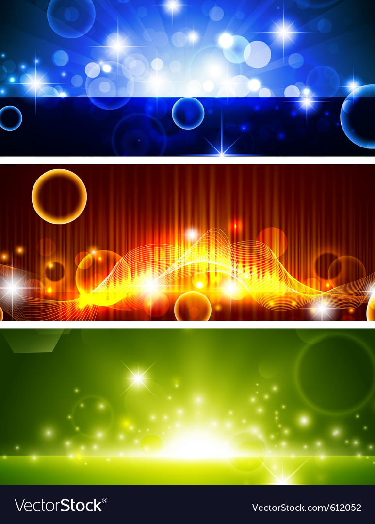 Bright multicolored glowing banners vector | Price: 1 Credit (USD $1)