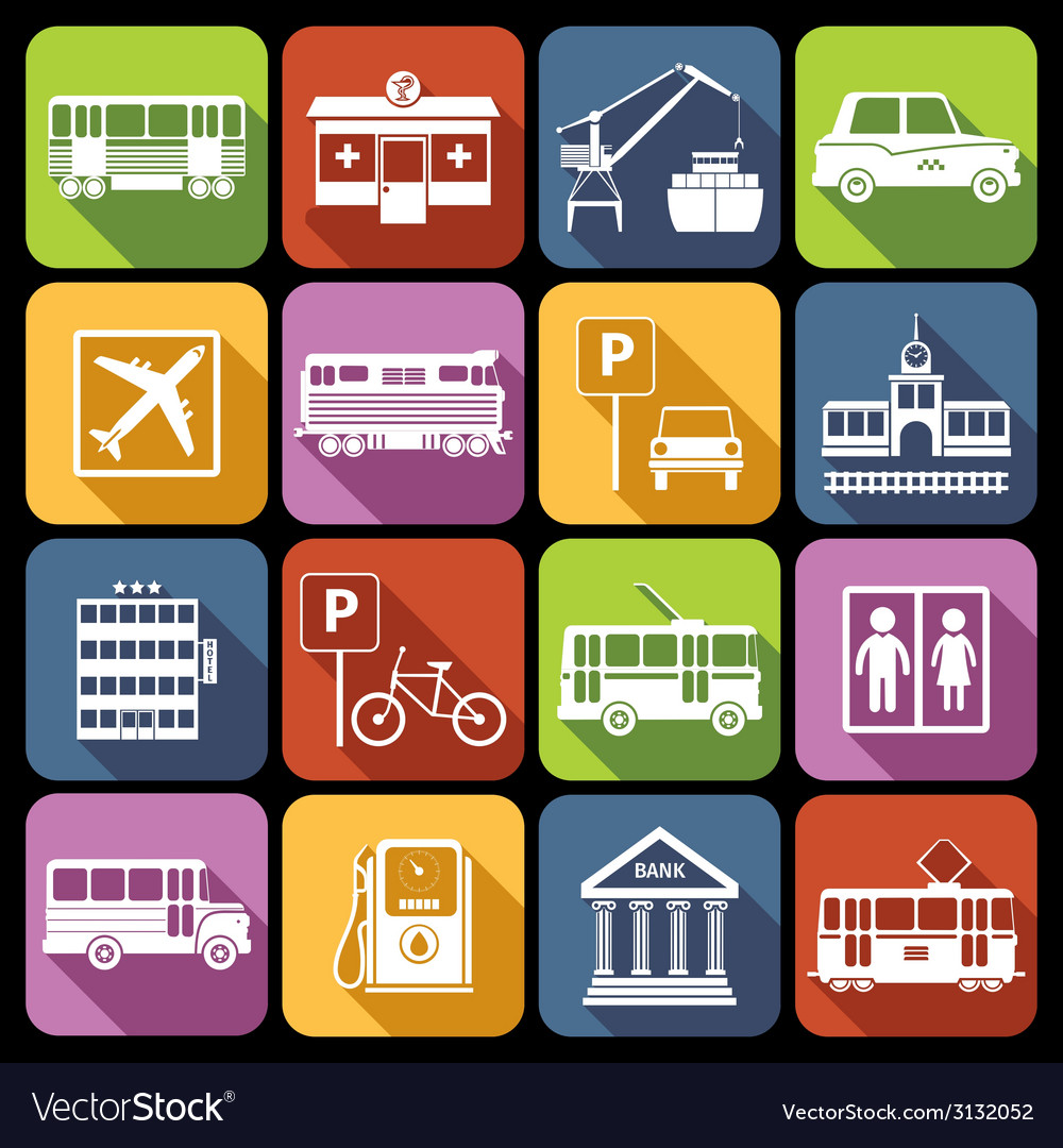 City infrastructure icons white vector | Price: 1 Credit (USD $1)
