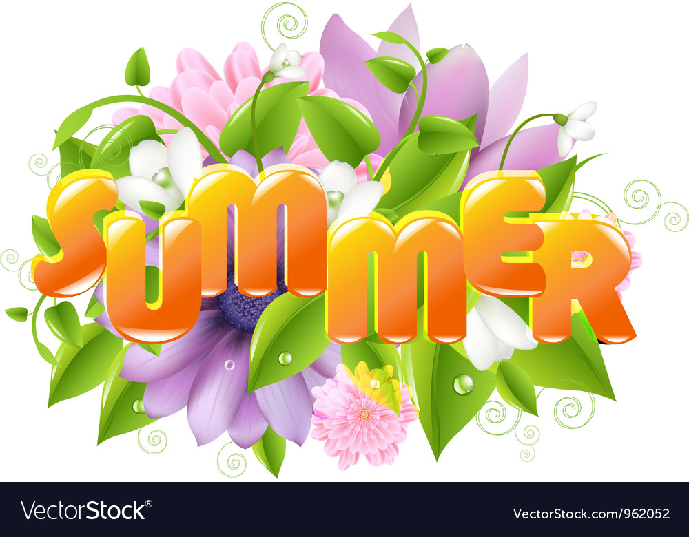 Floral summer sign vector | Price: 1 Credit (USD $1)