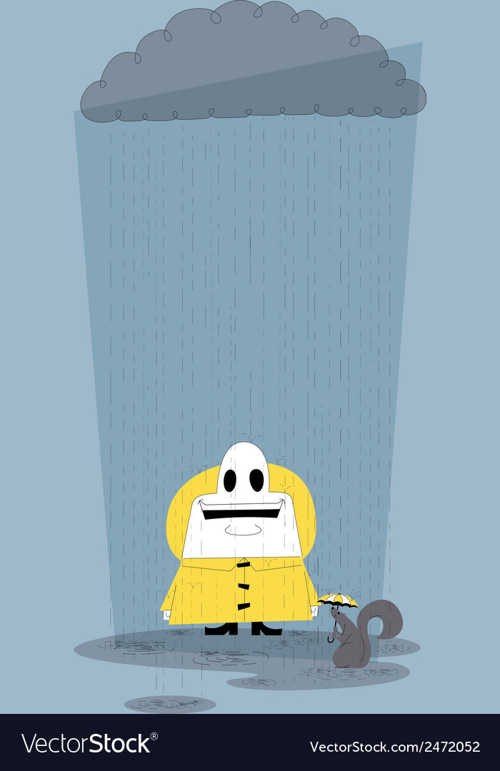 Happy in the rain vector | Price: 1 Credit (USD $1)