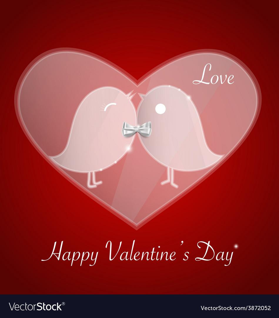 Happy valentines day bird love card invitation vector | Price: 1 Credit (USD $1)