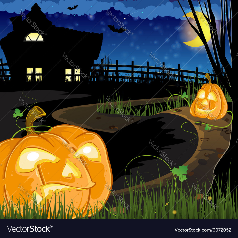 Jack o lanterns on the path vector | Price: 3 Credit (USD $3)