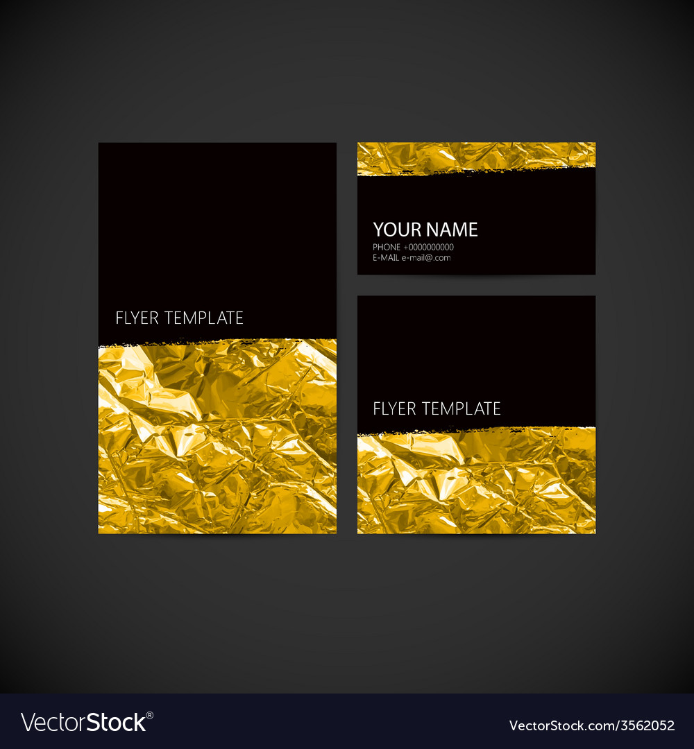 Set of visual corporate identity with golden vector | Price: 1 Credit (USD $1)