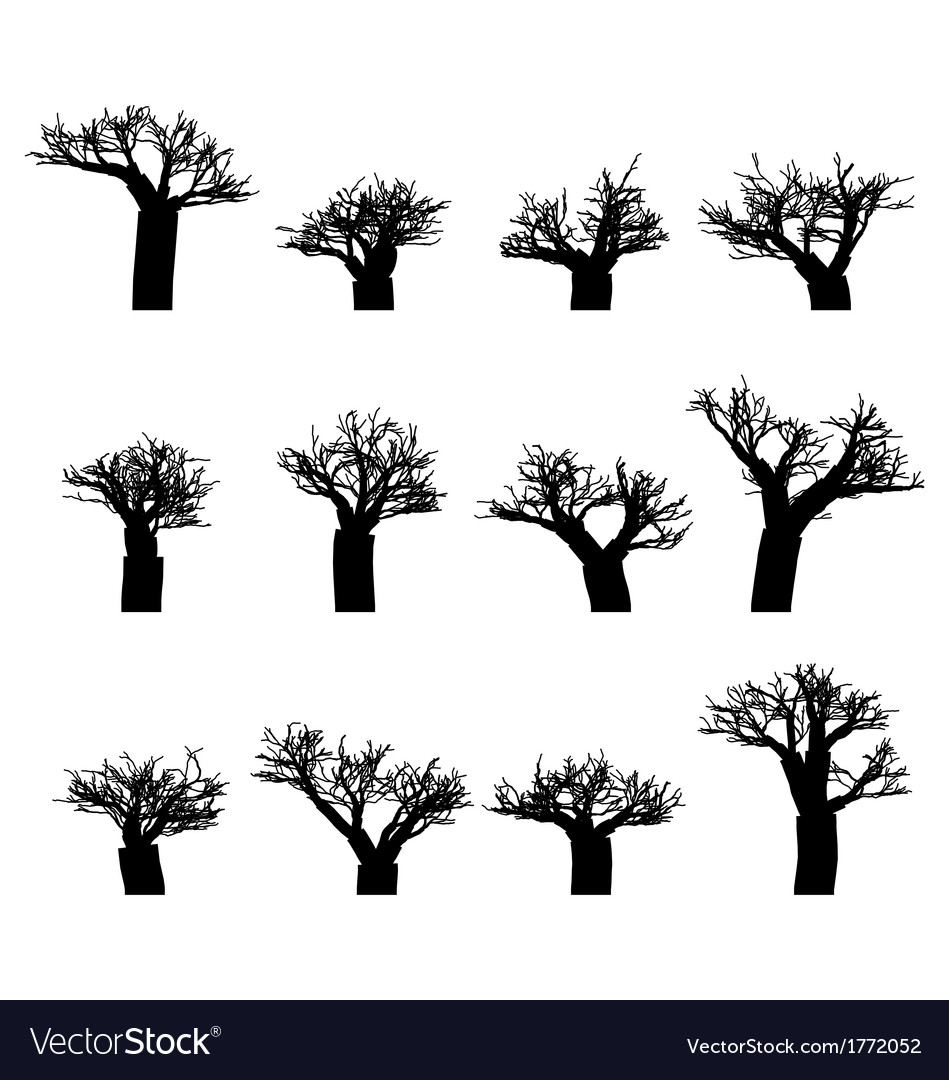Set of winter trees without leaves silhouettes vector | Price: 1 Credit (USD $1)