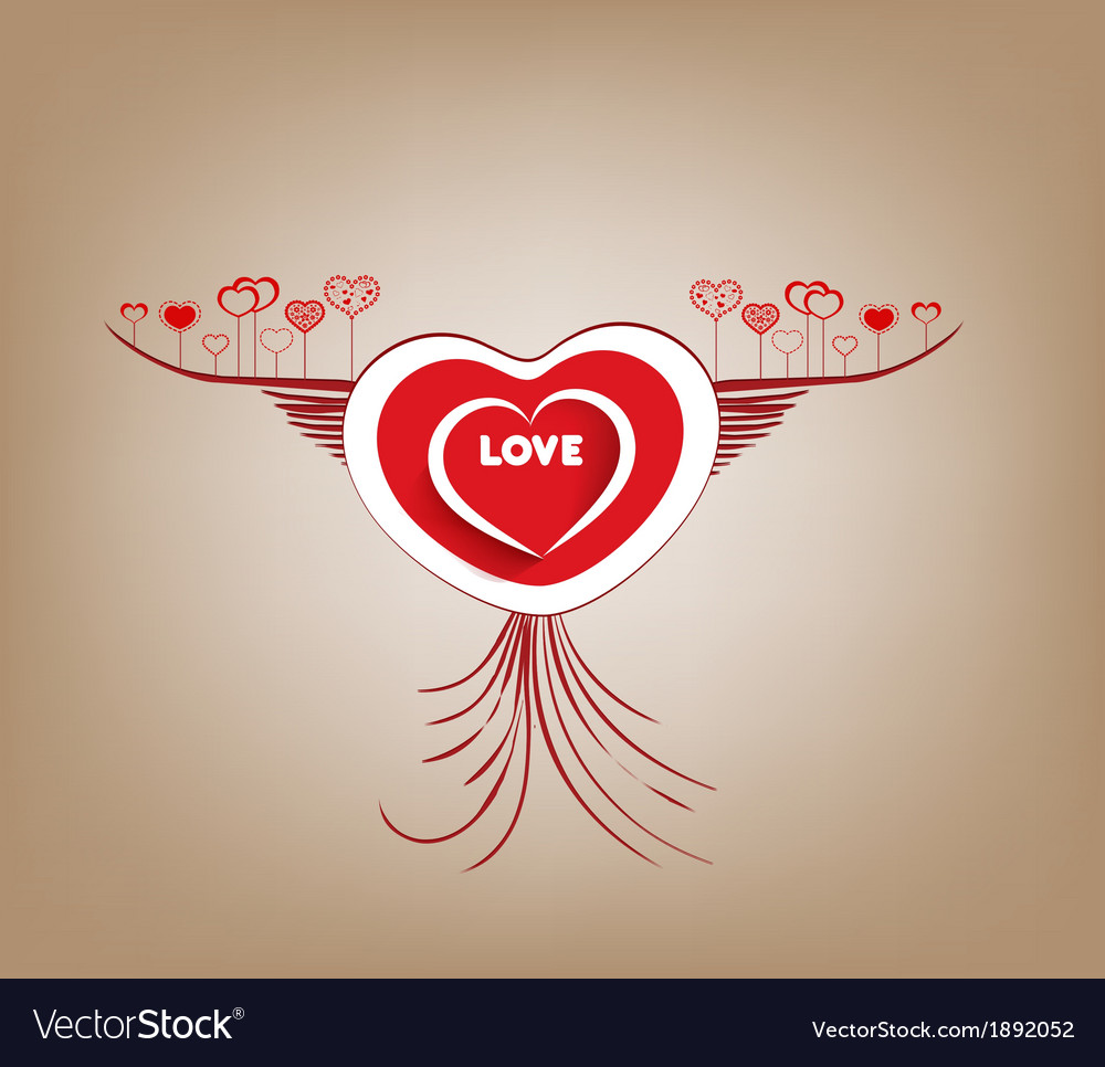 Valentines fly heart with wings vector | Price: 1 Credit (USD $1)