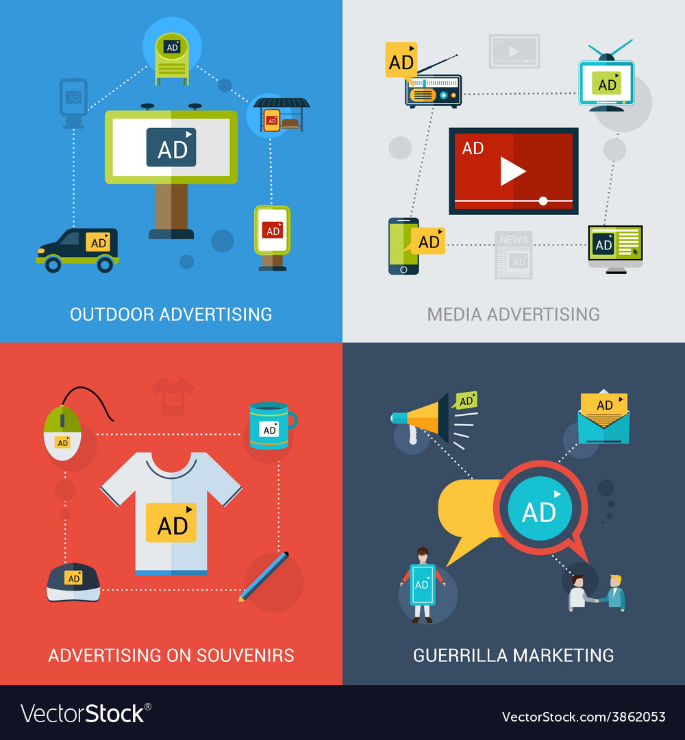 Advertising set isolated vector | Price: 1 Credit (USD $1)
