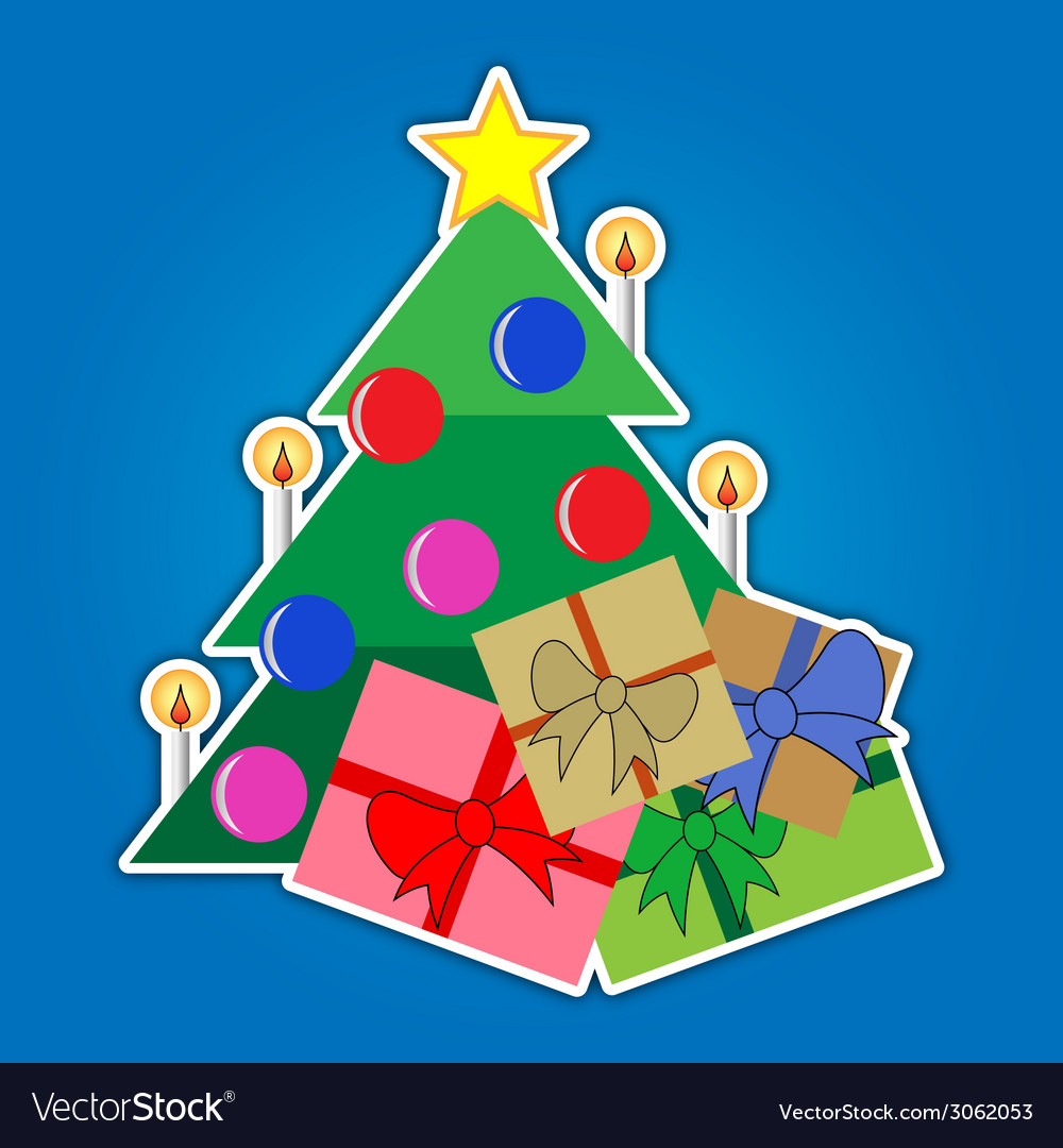 Christmas tree with star and colored gifts vector | Price: 1 Credit (USD $1)