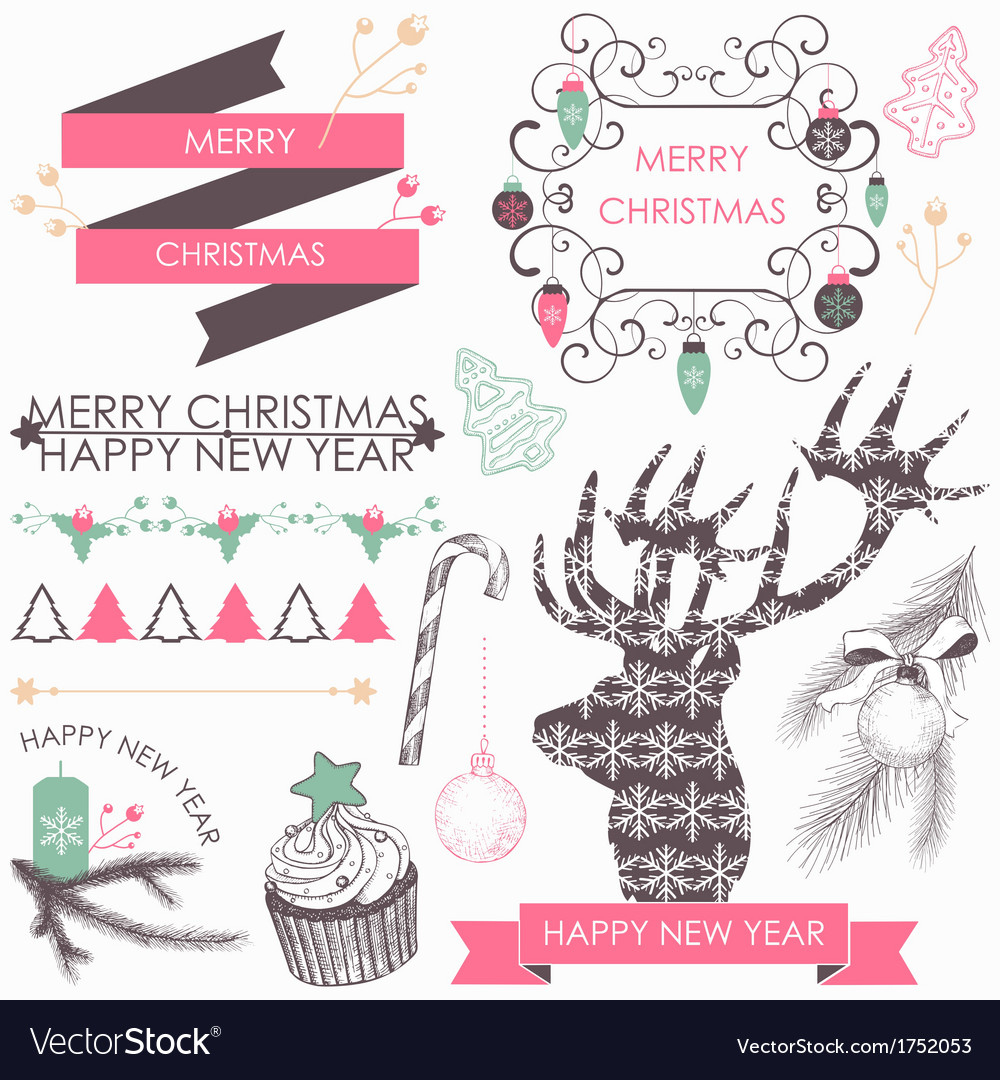 Collection of christmas elements vector | Price: 1 Credit (USD $1)