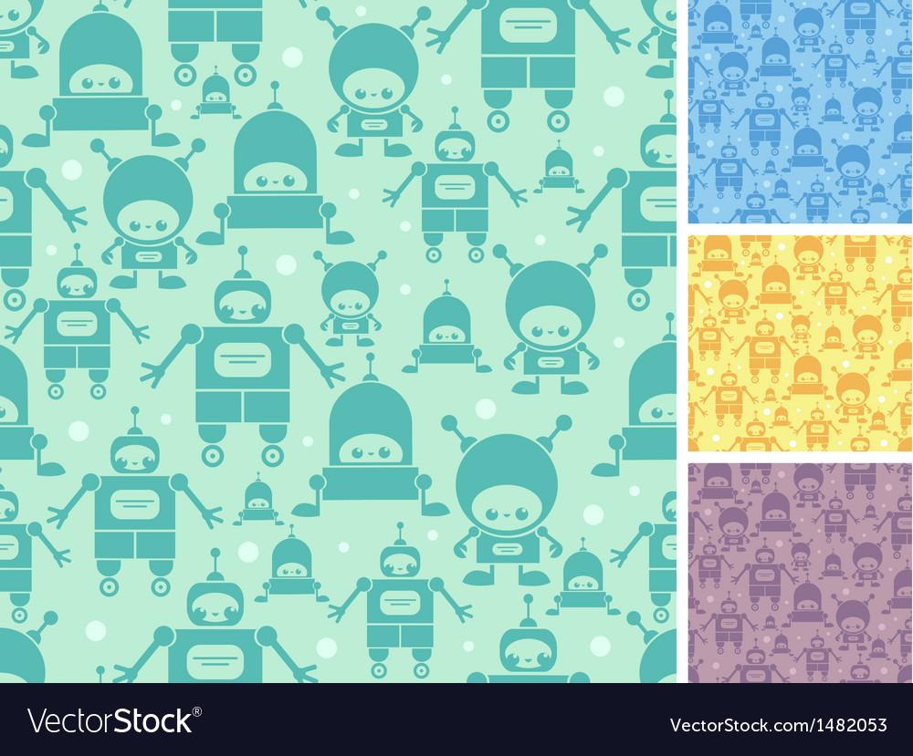 Cute cartoon robots seamless pattern background vector | Price: 1 Credit (USD $1)