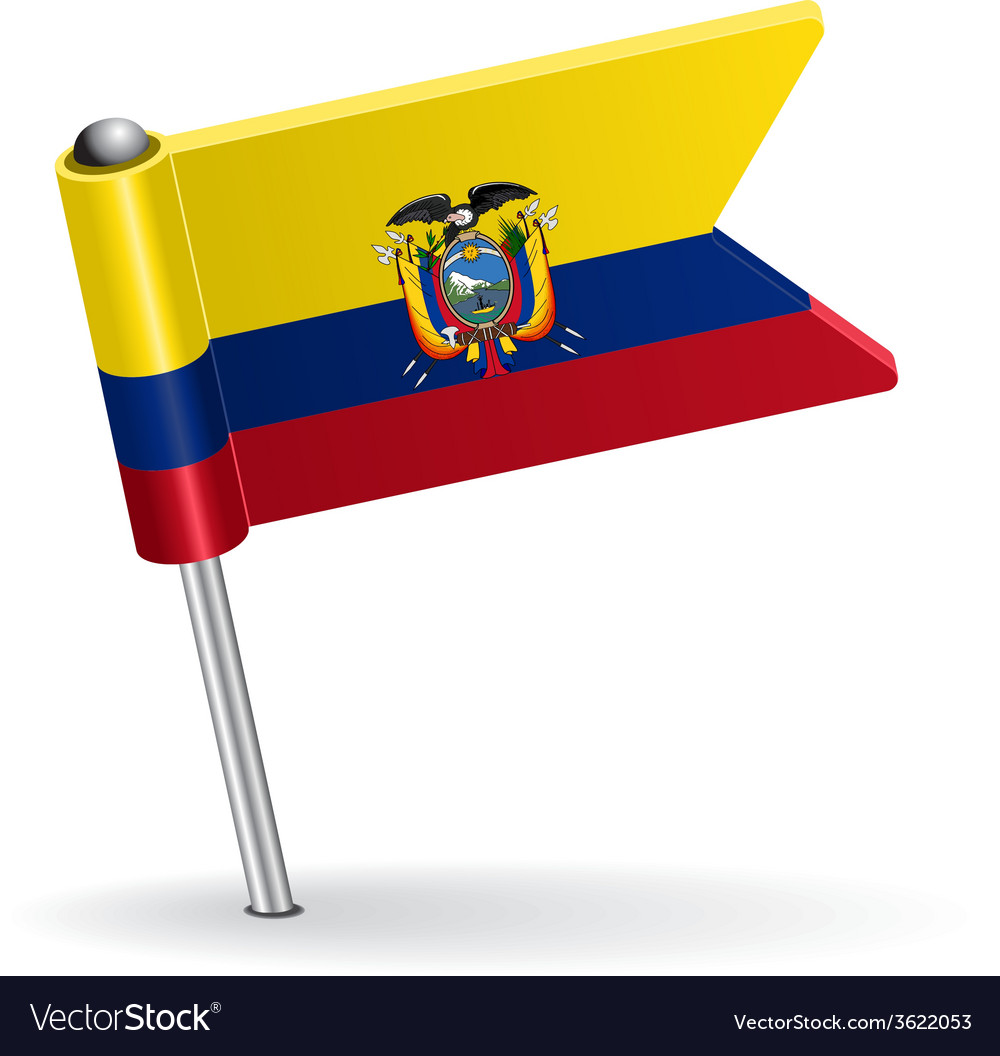 Ecuadorian pin icon flag vector | Price: 1 Credit (USD $1)