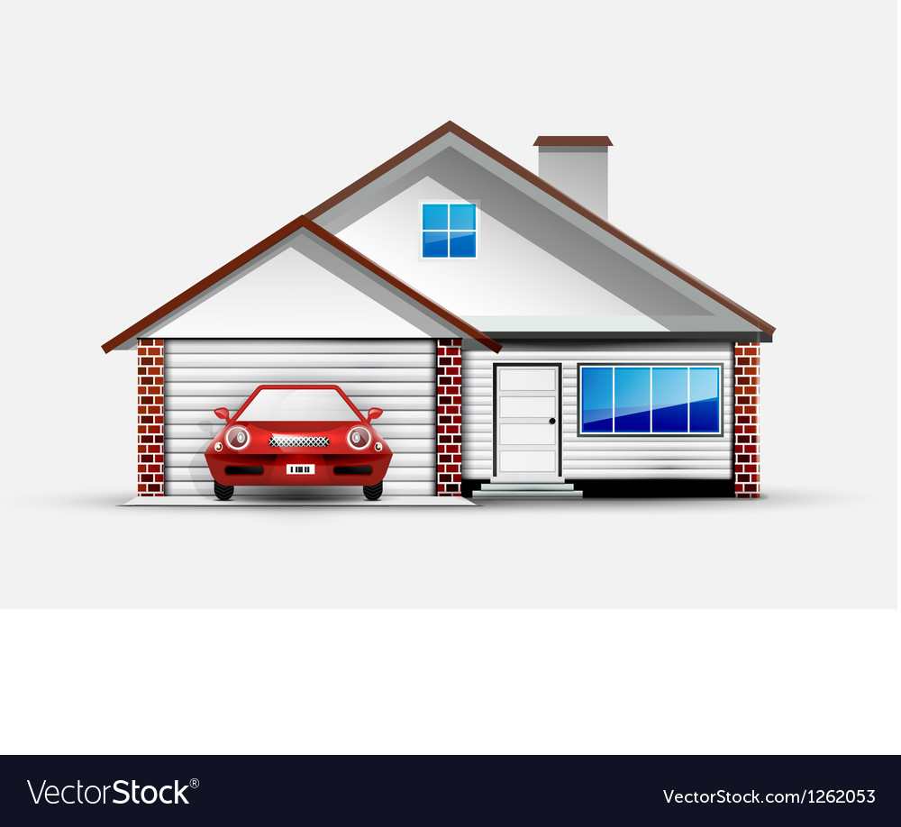 House and red sports car near garage vector | Price: 3 Credit (USD $3)