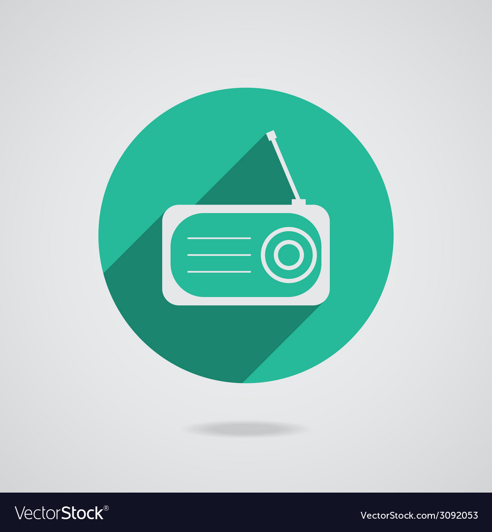 Radio flat icon silhouette with long shadow vector | Price: 1 Credit (USD $1)