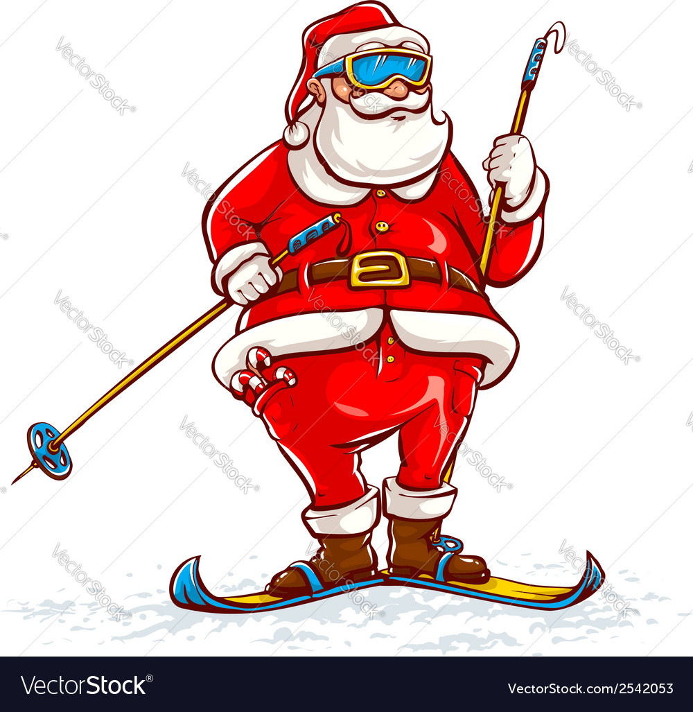 Santa claus on skis vector | Price: 3 Credit (USD $3)
