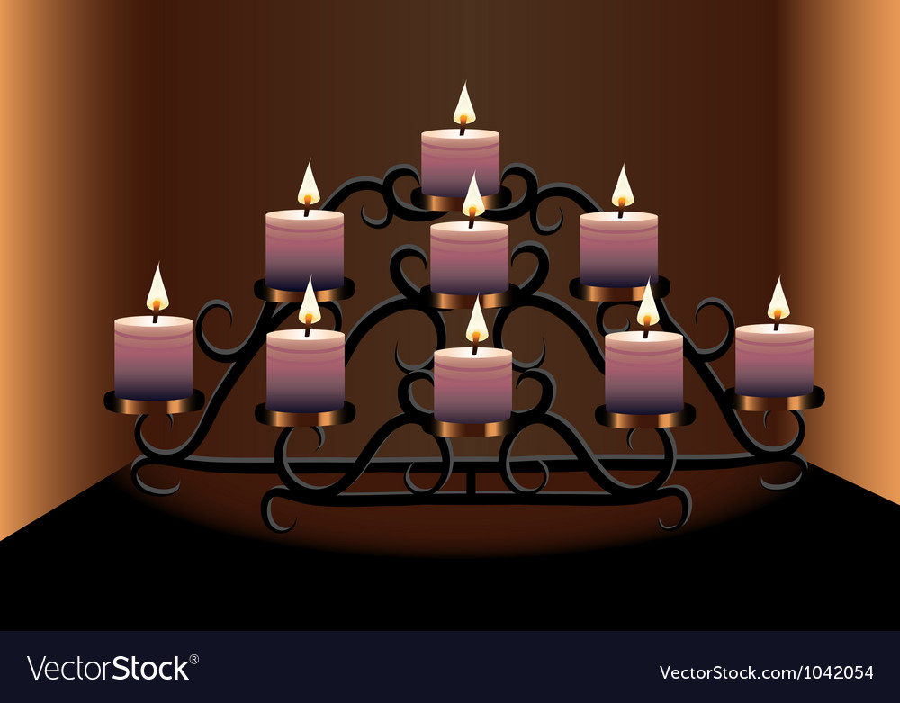 An old chandelier with candles vector | Price: 1 Credit (USD $1)