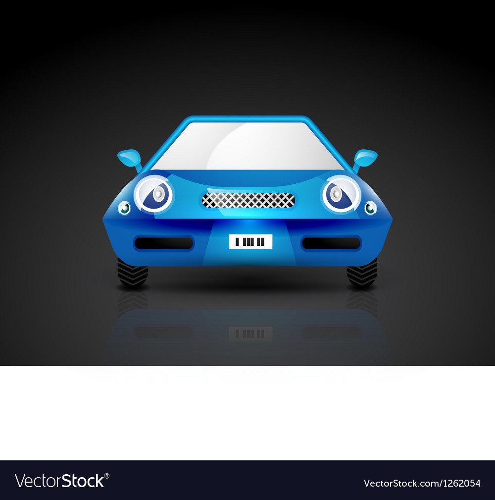 Blue sports car icon - front view vector | Price: 3 Credit (USD $3)