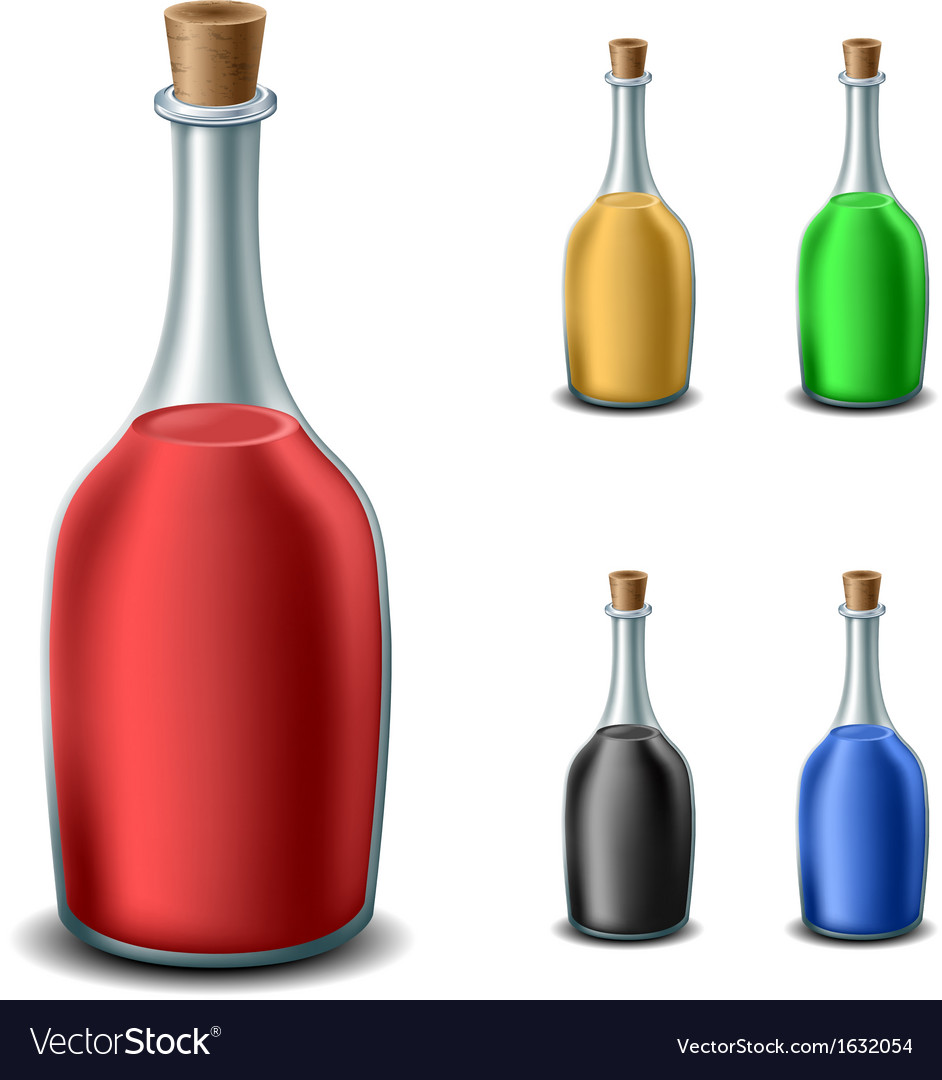 Old bottle set with different liquids vector | Price: 1 Credit (USD $1)