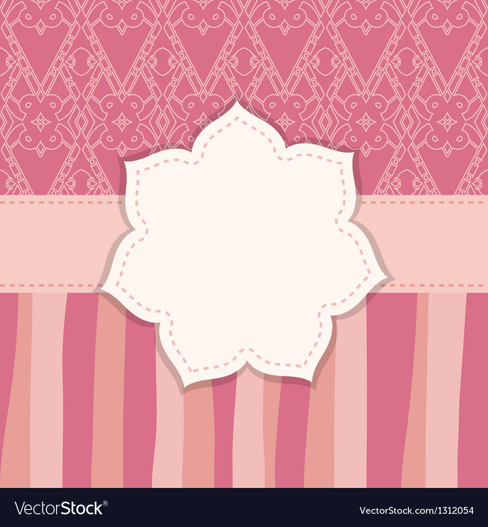 Pink greeting card with a flower frame vector | Price: 1 Credit (USD $1)