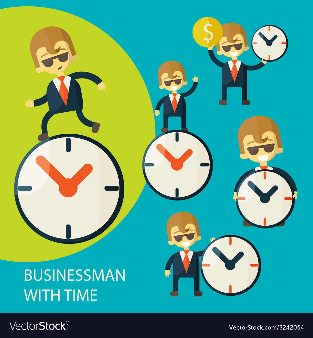 Set of businessman and clock vector | Price: 1 Credit (USD $1)