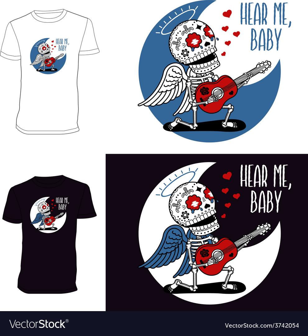 Skeletons t shirt angel serenade vector | Price: 1 Credit (USD $1)