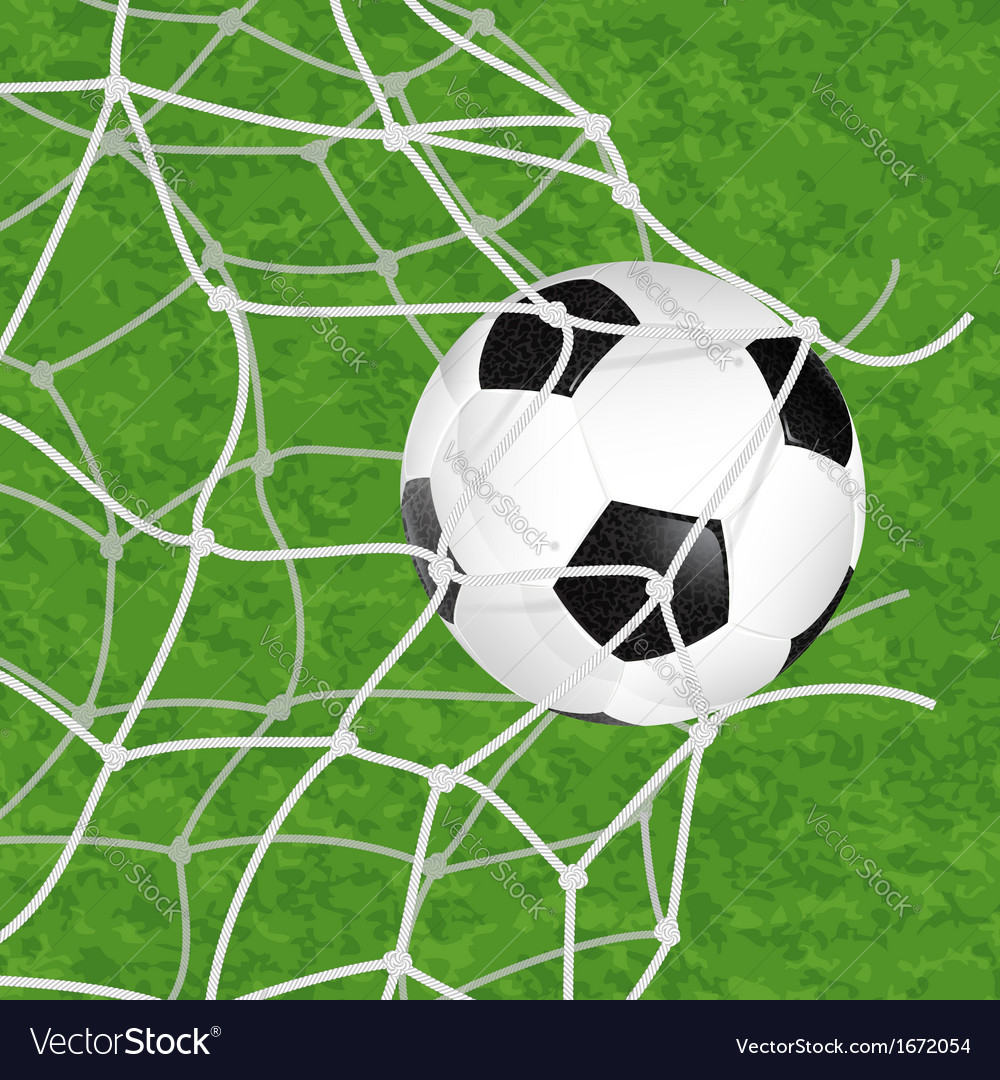 Soccer ball in net vector | Price: 1 Credit (USD $1)