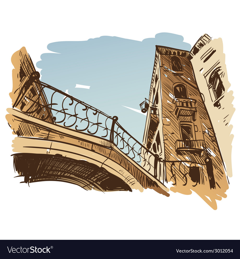 Venice cityscape drawing vector | Price: 1 Credit (USD $1)