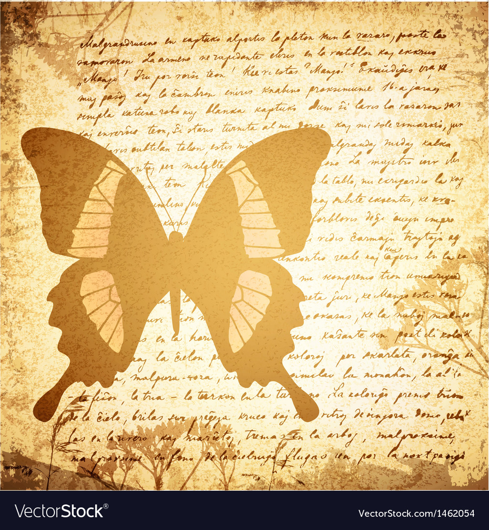 Vintage background with butterfly vector | Price: 1 Credit (USD $1)
