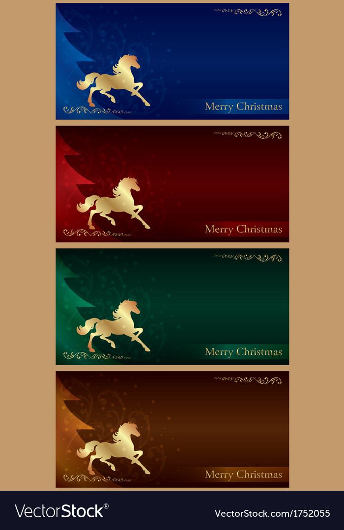 Background with horse silhouette christmas tree vector | Price: 1 Credit (USD $1)