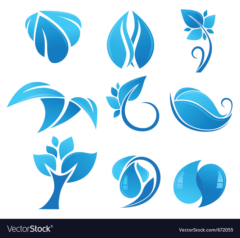 Blue flower icons vector | Price: 1 Credit (USD $1)