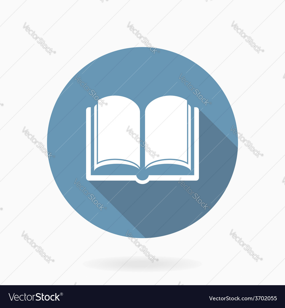 Book icon with flat design blue and white vector | Price: 1 Credit (USD $1)