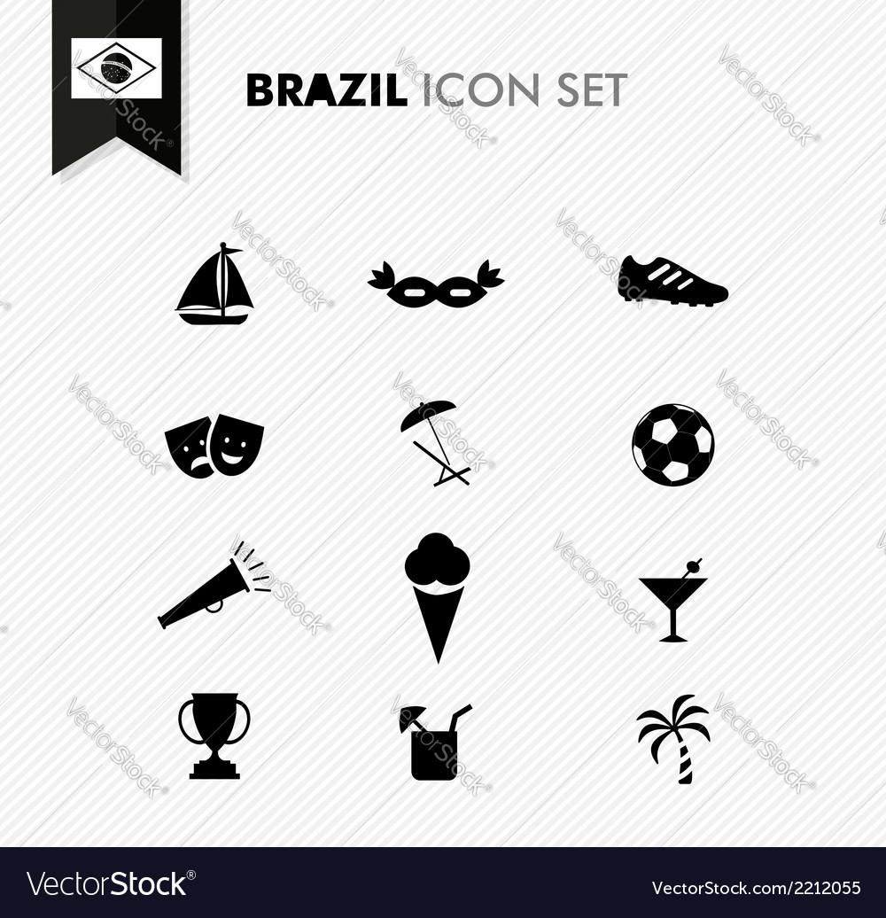 Brazil soccer icons set vector | Price: 1 Credit (USD $1)