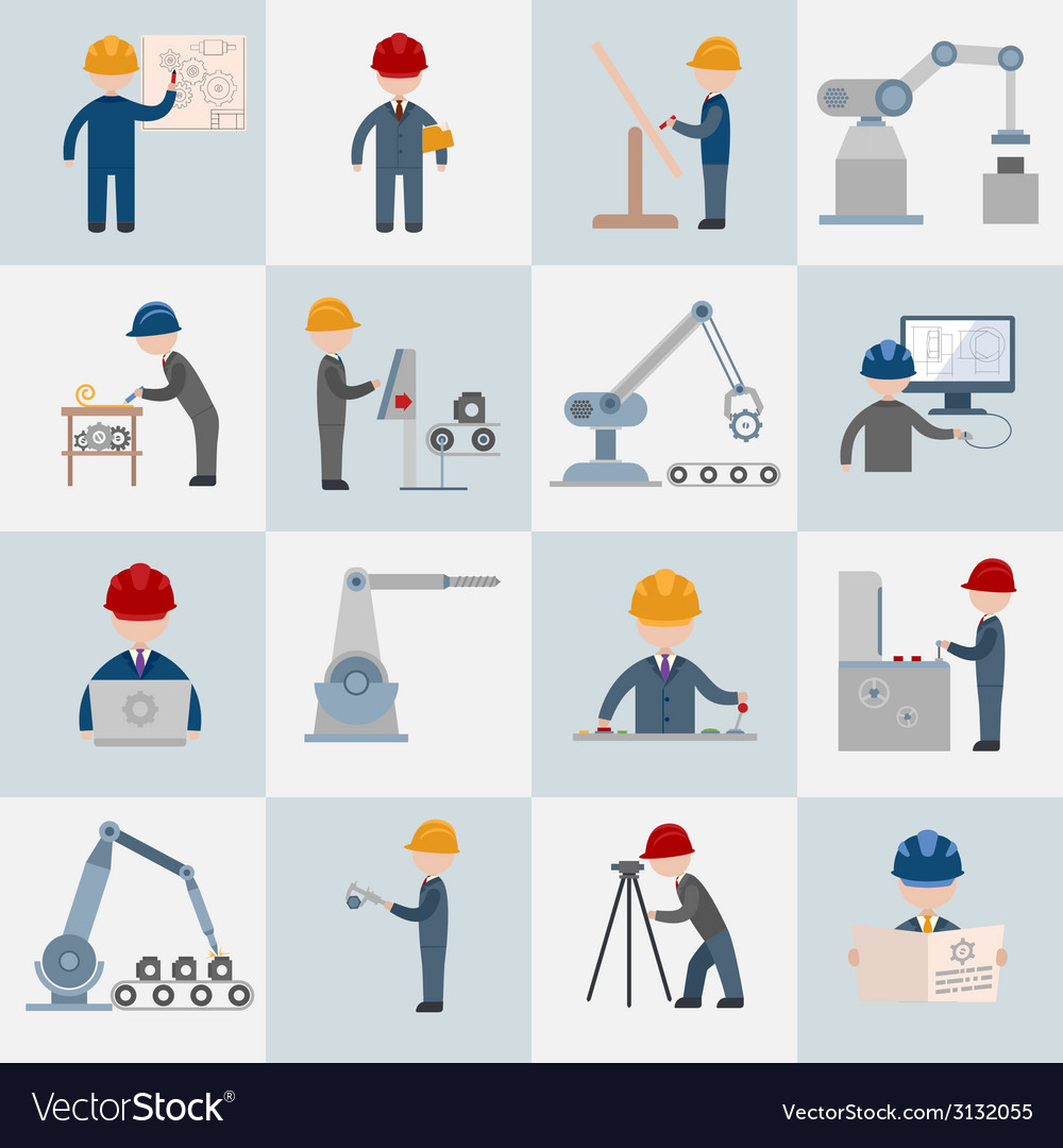 Engineering icons flat vector | Price: 1 Credit (USD $1)
