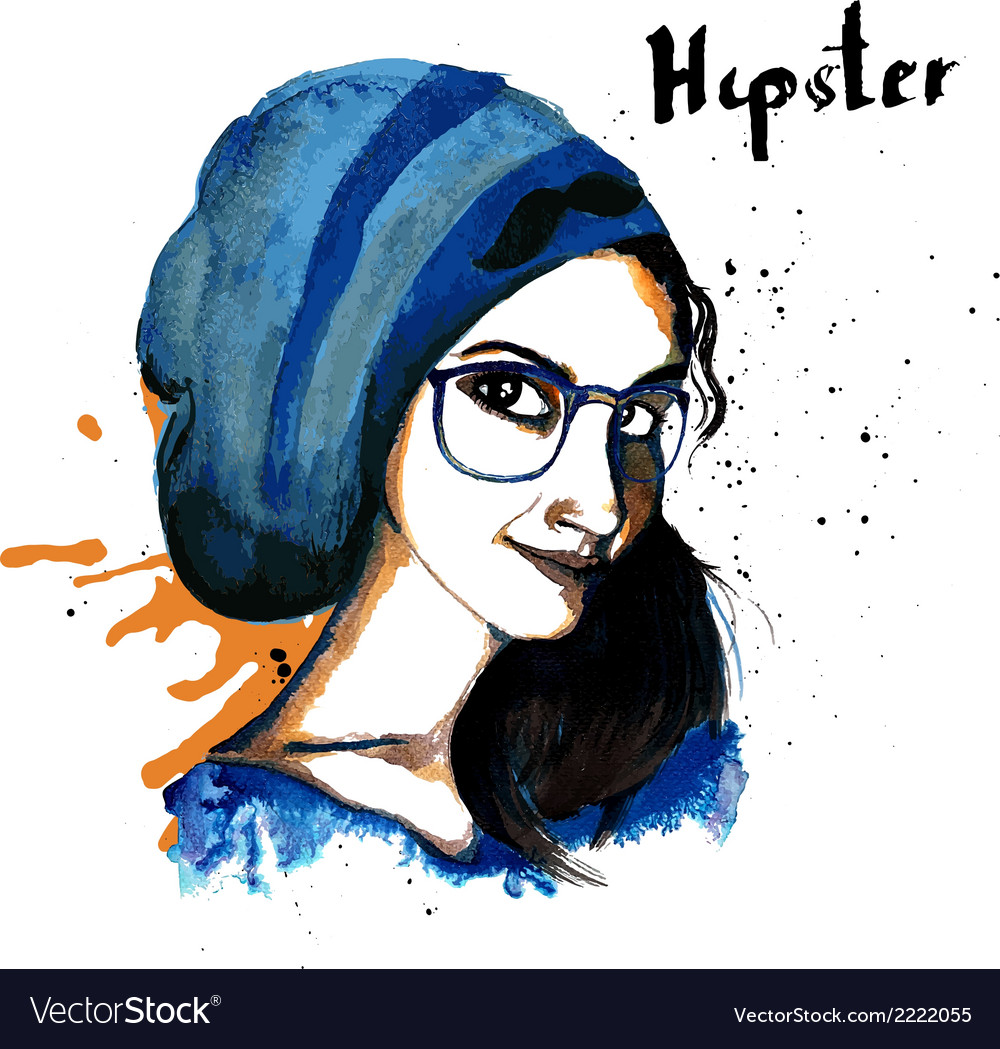 Girl ink hipster vector | Price: 1 Credit (USD $1)