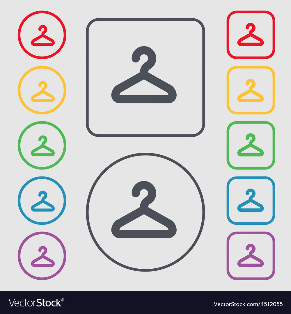 Hanger icon sign symbol on the round and square vector | Price: 1 Credit (USD $1)