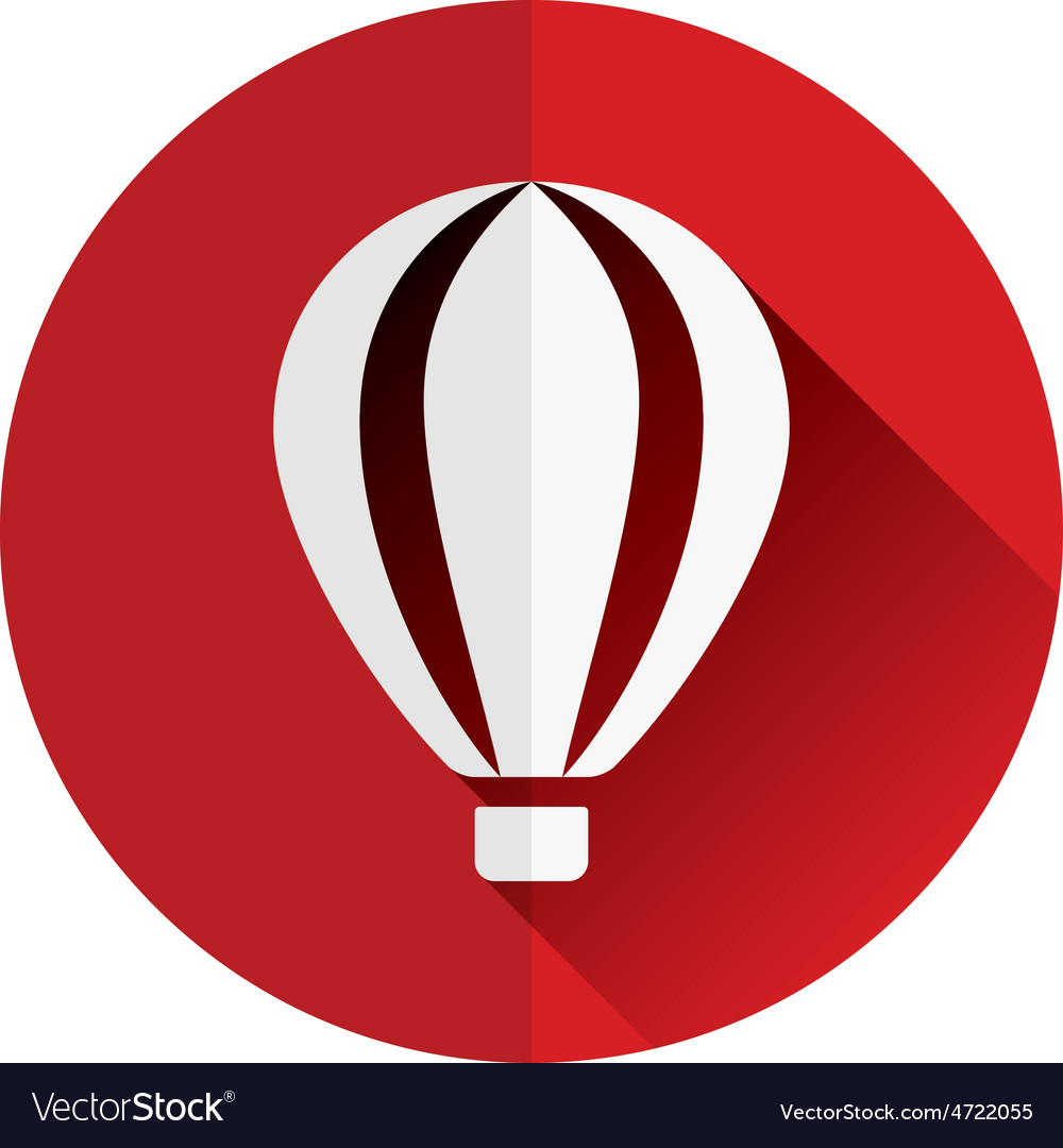 Hot-air balloon flat icon vector | Price: 1 Credit (USD $1)