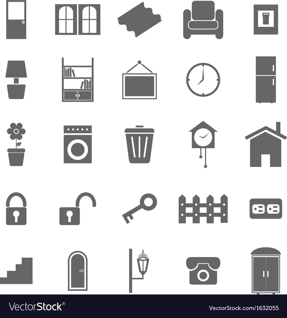 House related icons on white background vector | Price: 1 Credit (USD $1)