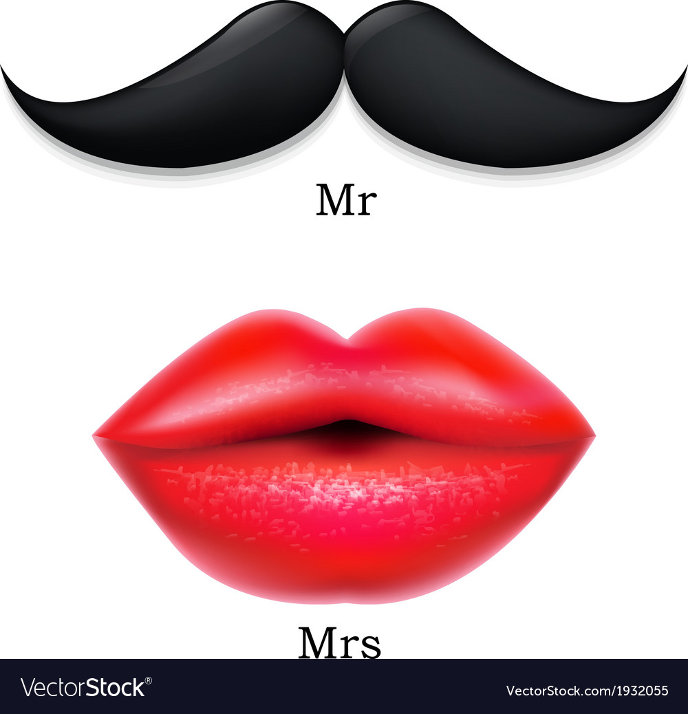 Moustaches with lips vector