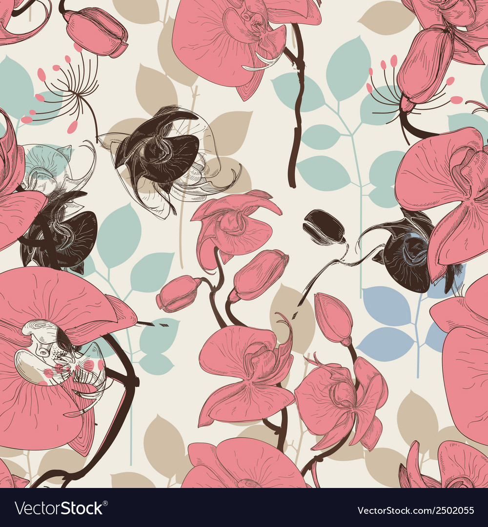 Retro pattern flower orchid vector | Price: 1 Credit (USD $1)