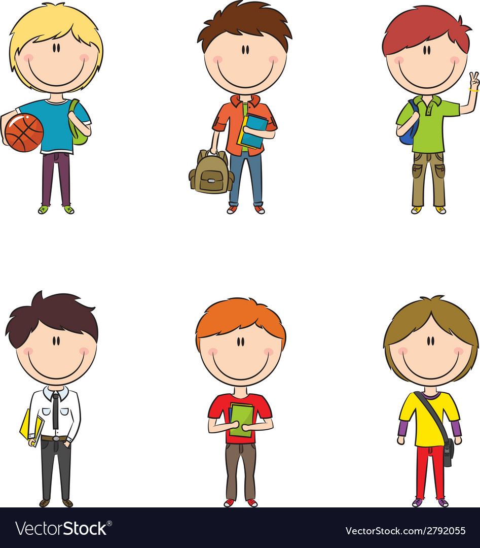 School boys vector | Price: 1 Credit (USD $1)