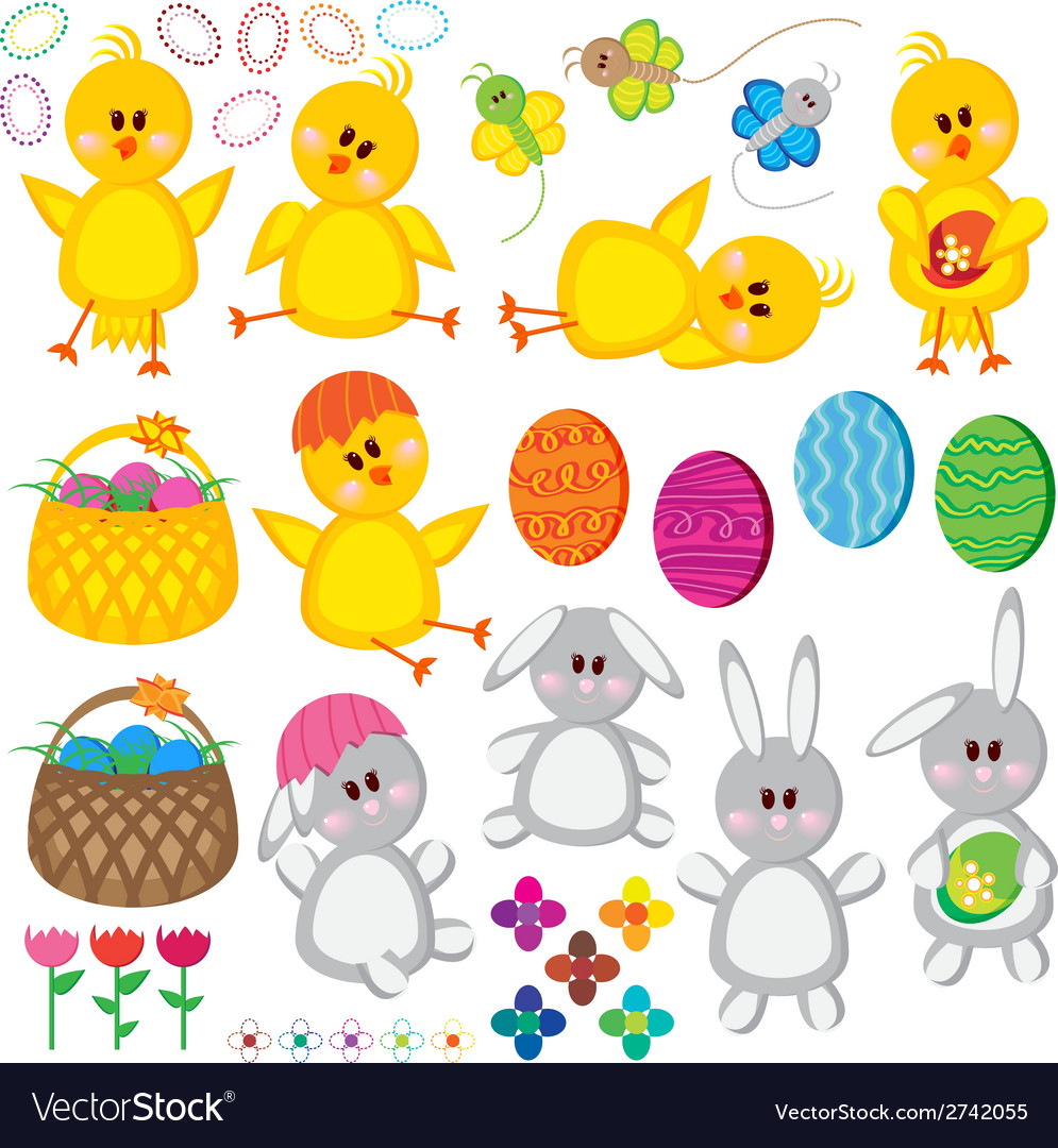 Set of easter elements for your design vector | Price: 1 Credit (USD $1)