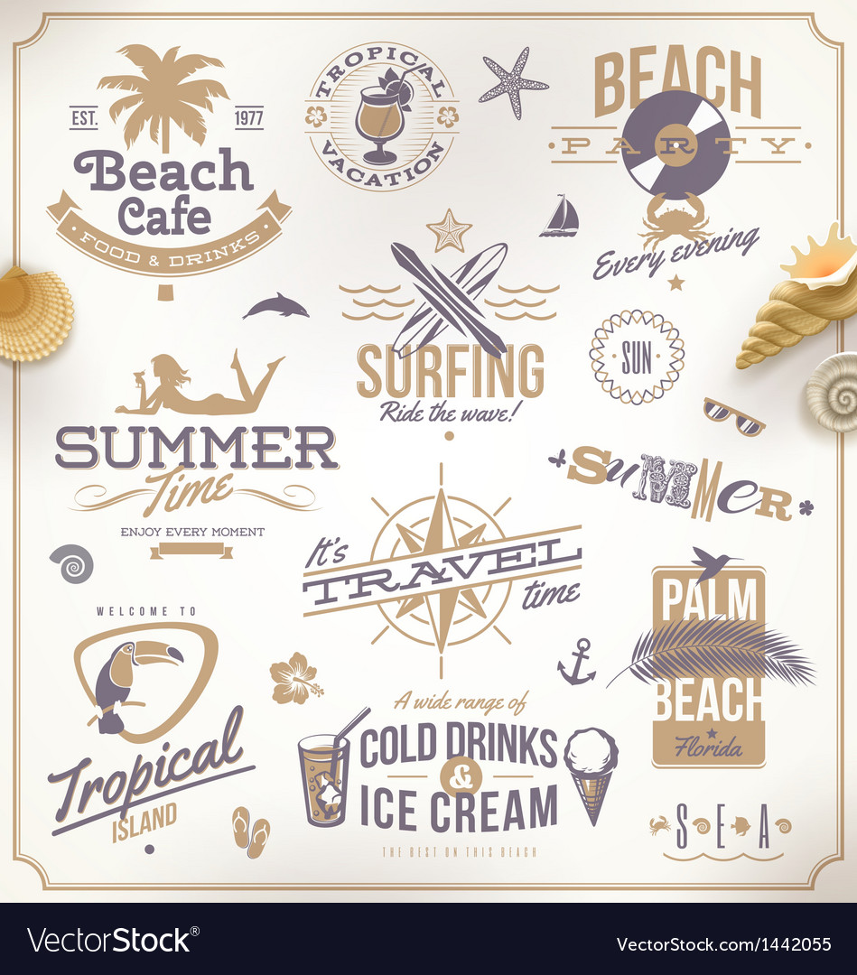 Set of travel and vacation emblems vector | Price: 3 Credit (USD $3)