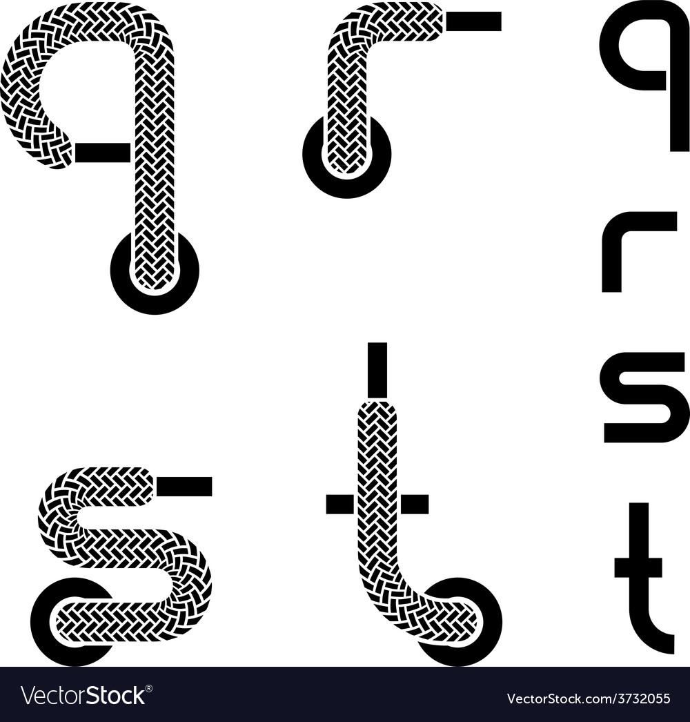 Shoelace alphabet lower case letters q r s t vector | Price: 1 Credit (USD $1)