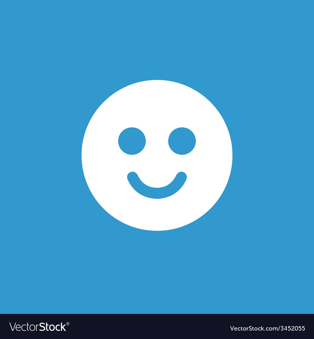 Smile icon white on the blue background vector | Price: 1 Credit (USD $1)