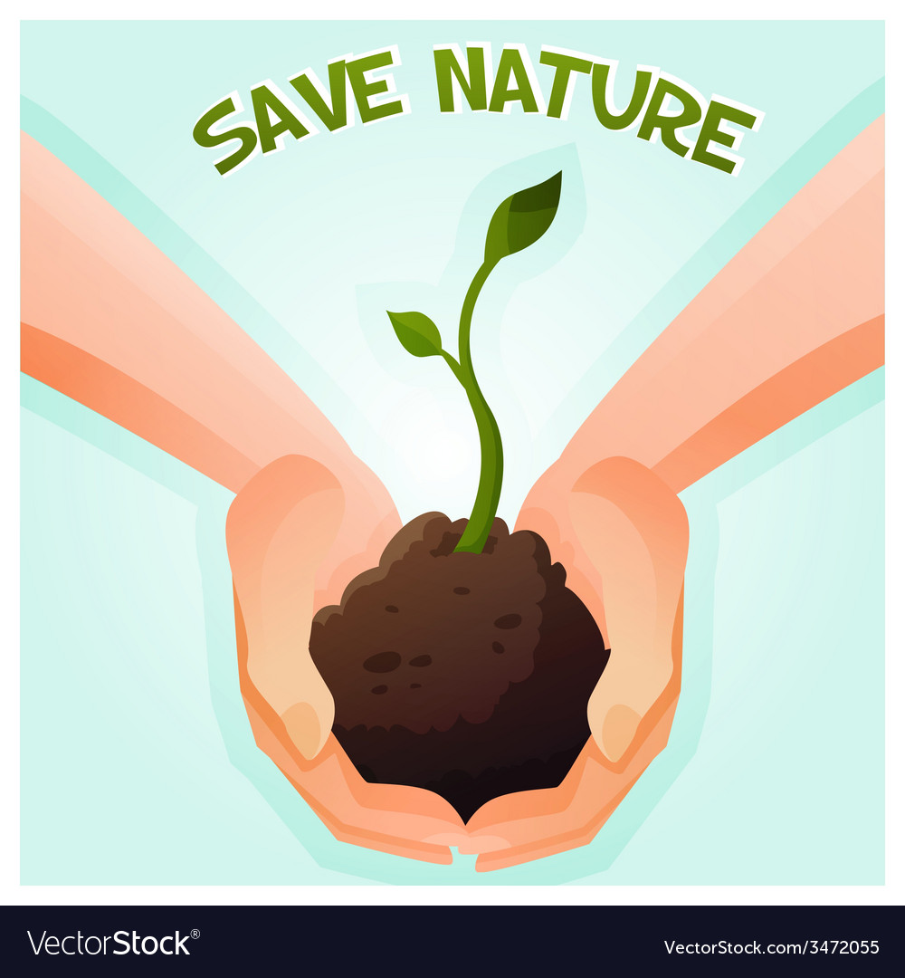 Two hands holding a young green plant vector | Price: 1 Credit (USD $1)