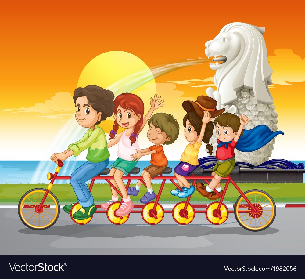 A family bike near the statue of merlion vector | Price: 1 Credit (USD $1)