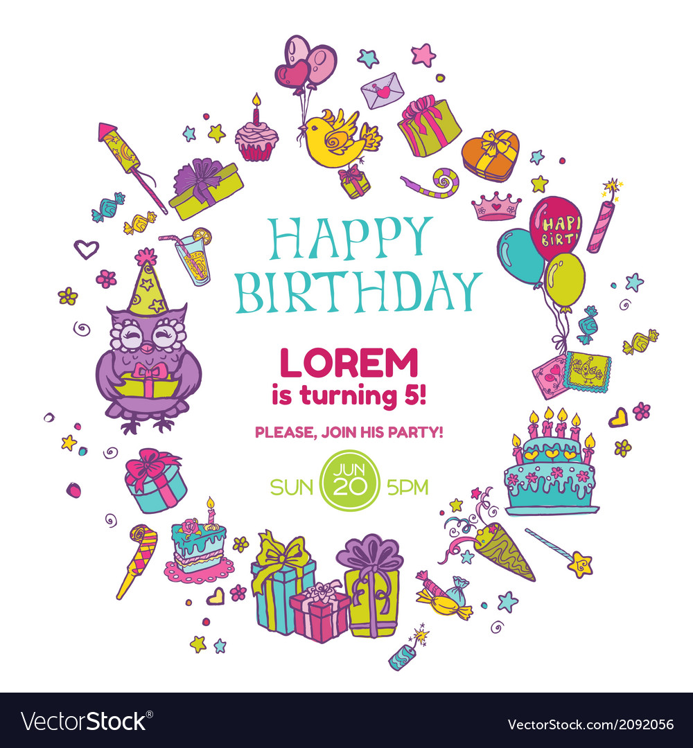 Birthday invitation card vector | Price: 1 Credit (USD $1)
